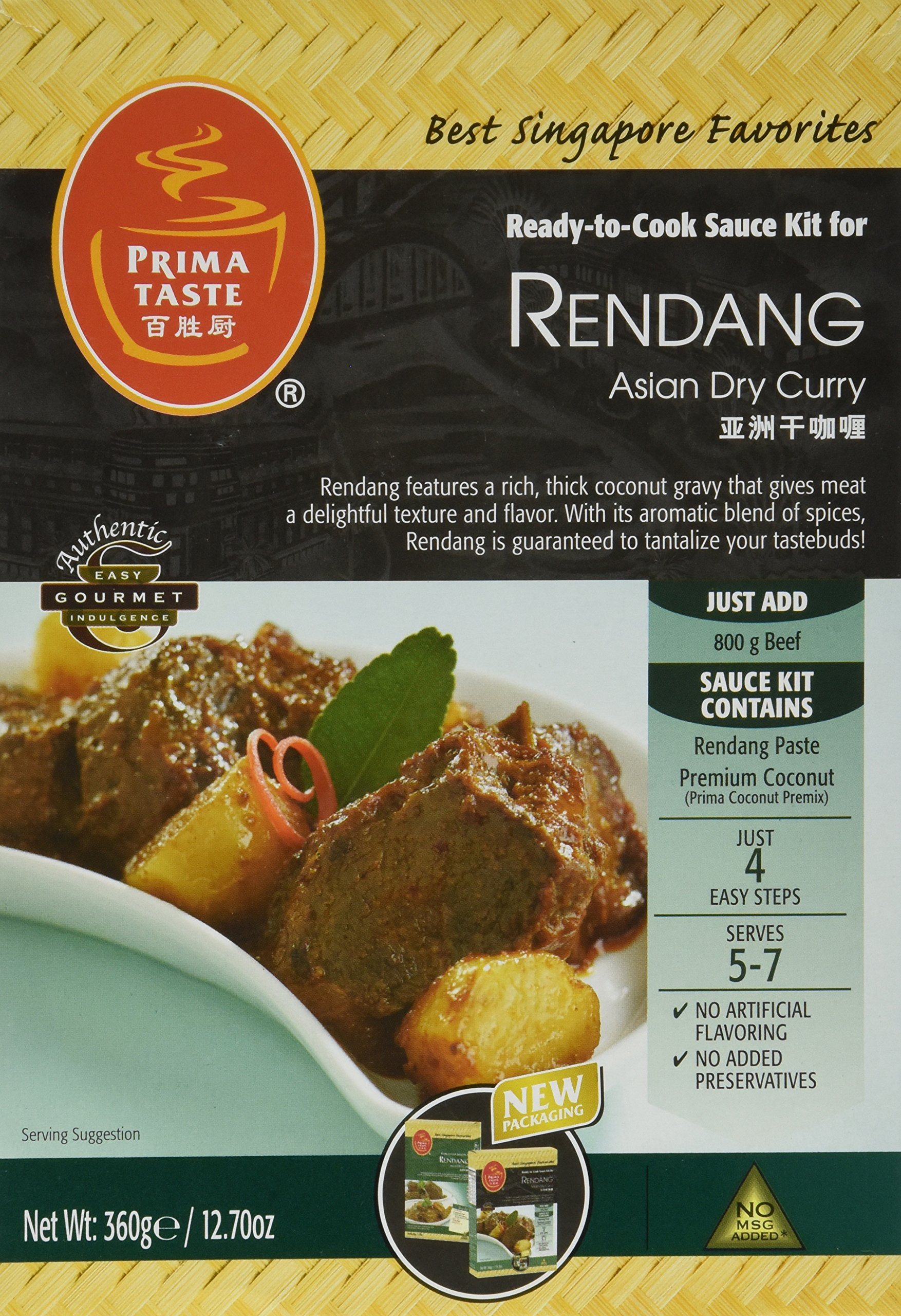 Prima Taste Rendang Curry Sauce Kit, 12.7 Ounce Boxes (Pack Of 4)