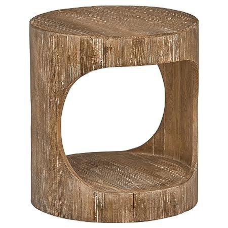 Stone Beam Miramar Elm Wood Cutout Side End Table, 19.7 D, Natural