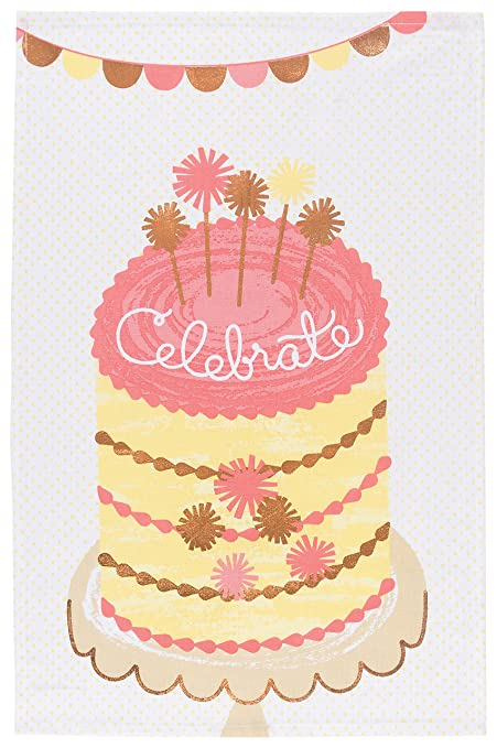 Now Designs Cotton Kitchen Towel Celebrate Birthday Cake Print