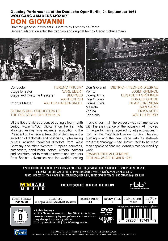 Wolfgang Amadeus Mozart- Don Giovanni : FISCHER DIESKAU DIETRICH , GRUMMER ELISABETH : Amazon.es: Música