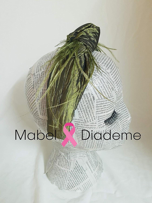 Mabel Diademe turbante diadema verde y plumas accesorio pelo para eventos festival acontecimiento bodas tocados glamour tendencias