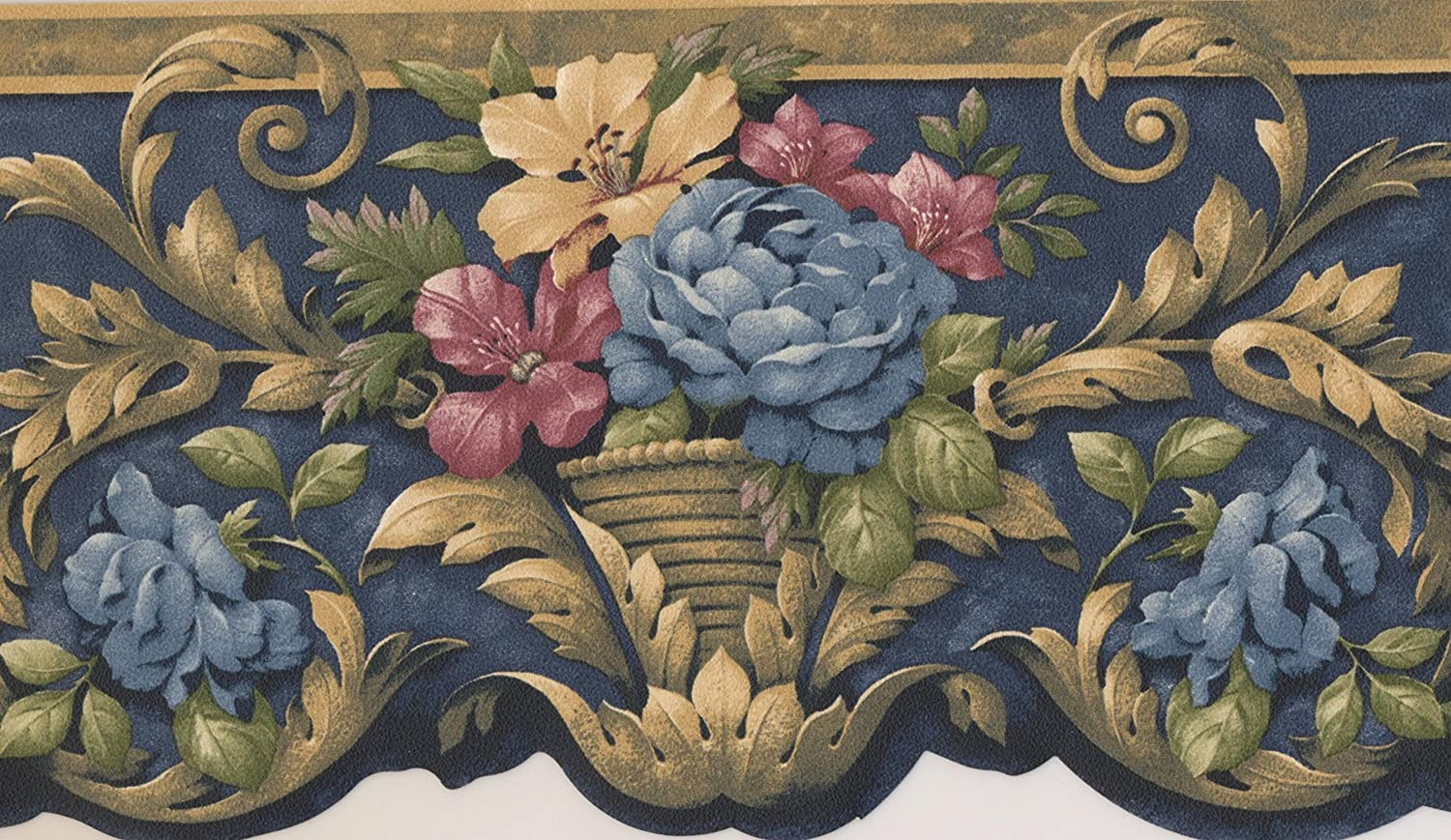 Blue Red Yellow Flowers In Pots Victorian Wallpaper Border