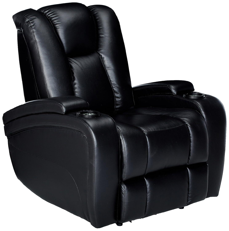 Delange Power Recliner with Adjustable Headrest and Storage in Armrests Black