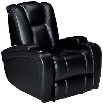 Cool Delange Power Recliner With Adjustable Headrest And Storage In Armrests Black Machost Co Dining Chair Design Ideas Machostcouk