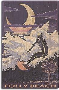 Lantern Press Folly Beach, South Carolina - Surfer with Palmetto Moon (10x15 Wood Wall Sign, Wall Decor Ready to Hang)