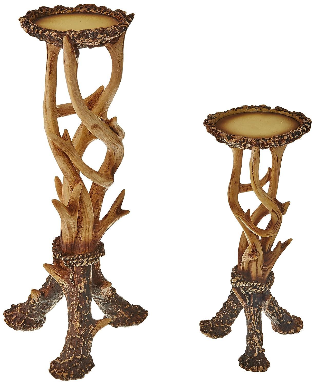 Decorative Faux Antler Pillar Candle Holders Set of 2 - ChristmasTablescapeDecor.com