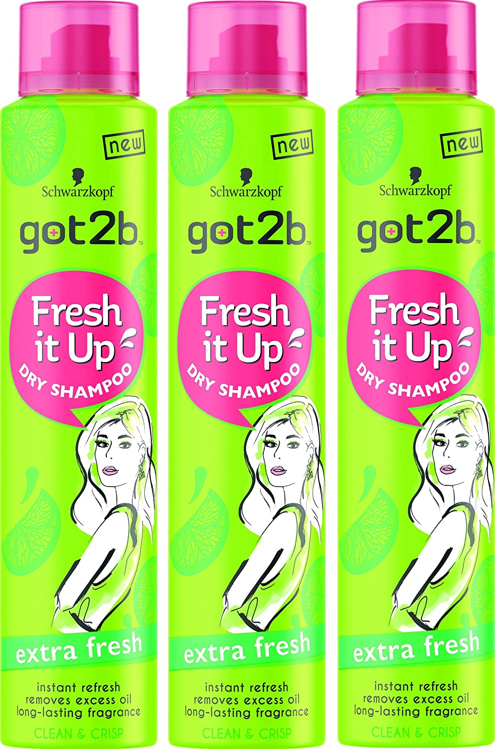 3x Schwarzkopf Got2b Fresh Up Dry Shampoo Extra Fresh 200ml