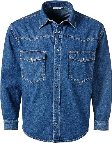 Pionier Workwear 922 - Camisa vaquera de manga larga para hombre, lavada a piedra, color azul -