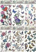 6 sheets temporary tattoo stickers fake realistic tattoos