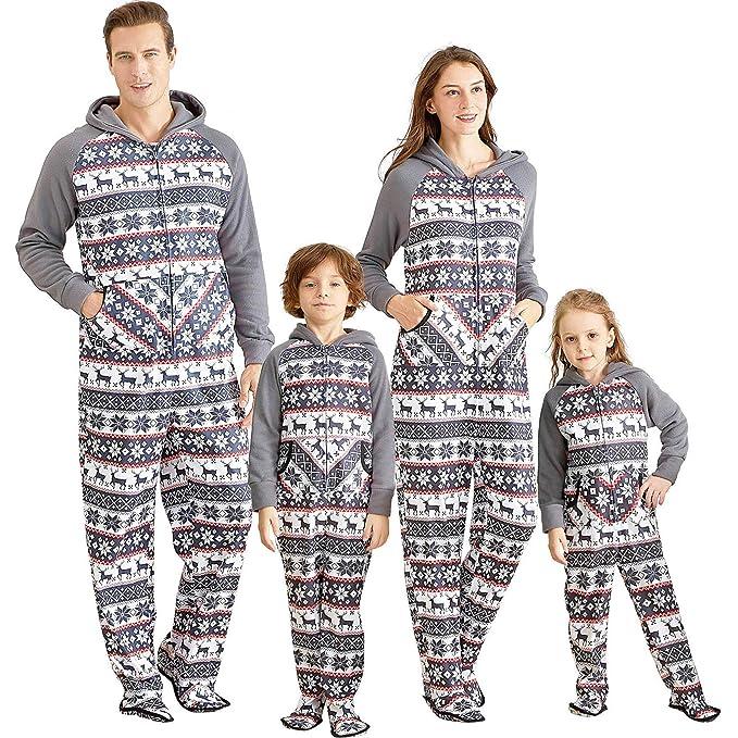 Yaffi Matching Family Footed Pajamas Hoodie Sleeper Christmas PJ's Festival Snowflake Plush Cozy Warm Onesie Women: S Grey best Christmas pajamas