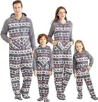 IFFEI Matching Family Footed Pajamas Hoodie Sleeper Christmas PJ's Festival Snowflake Plush Cozy Warm Onesie Grey
