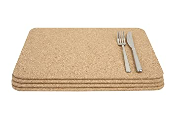 Tu0026G Set Of 4 Large Rectangular Table Mats PlaceMats In Natural Cork 40x30cm