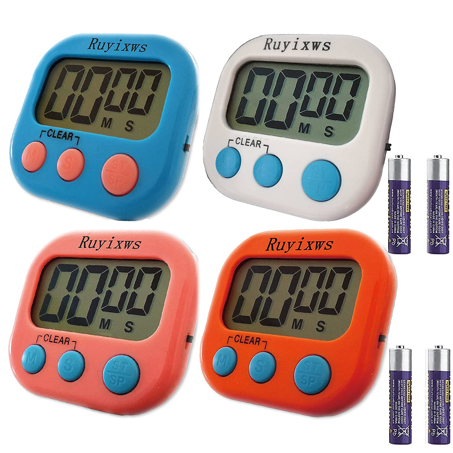 Ruyixws 4 Pack Digital Kitchen Timer with Large LCD Display, Loud Alarm, Magnetic Back with Stand, Timer for Kids Cooking Baking Sports Office, On/Off Switch, Battery Included (4 Colors)