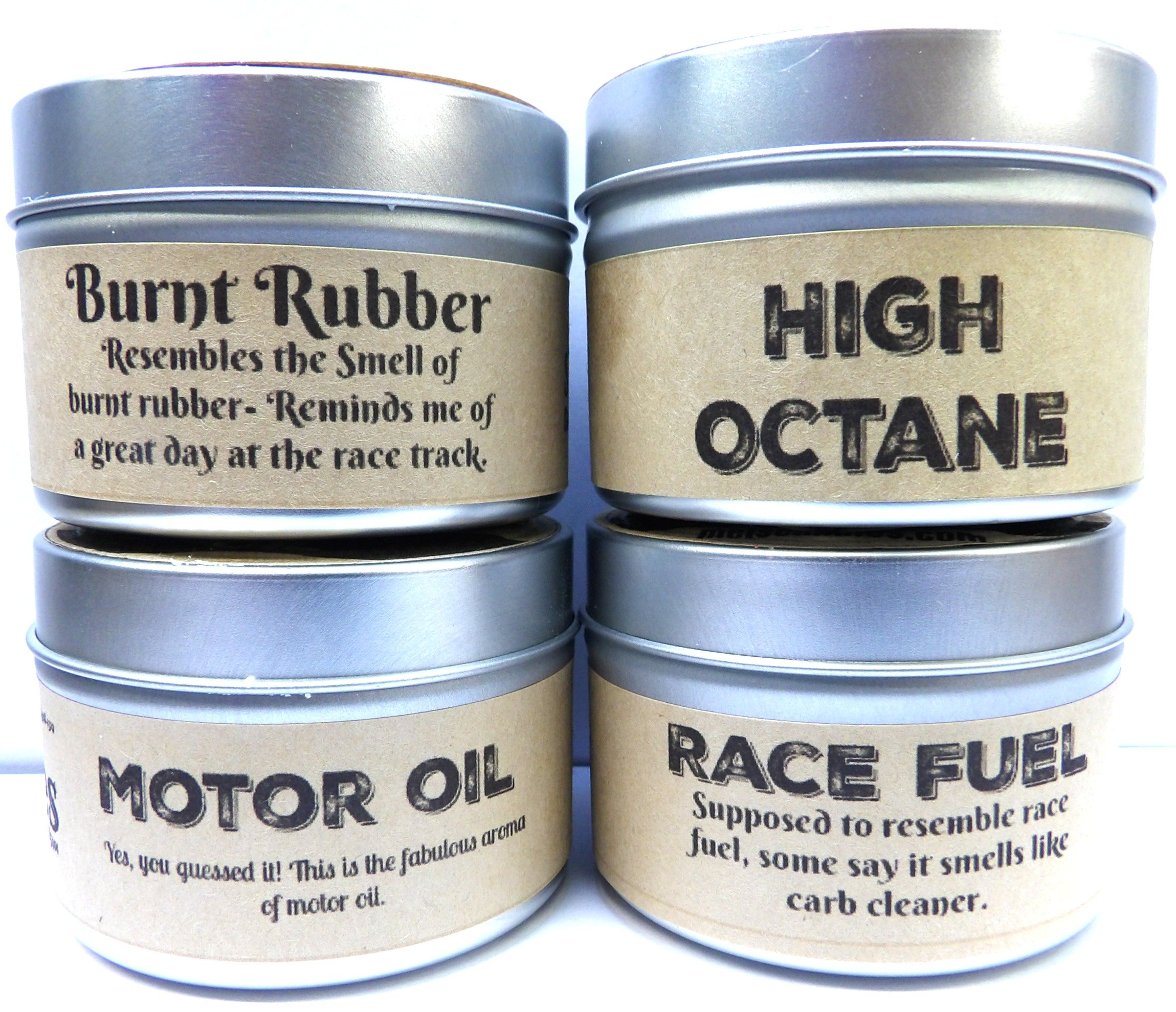 Combo Set of 4 - High Octane, Race Fuel, Motor Oil & Burnt Rubber 4 Oz All Natural Soy Candle Tins by Mels Candles & More (Image #2)