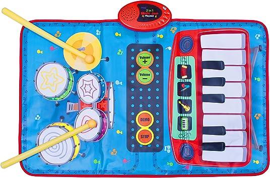 Global Gizmos 50770 Doble Dos en uno Musical para niños Alfombra de Juegos Teclado y Kit de Tambor