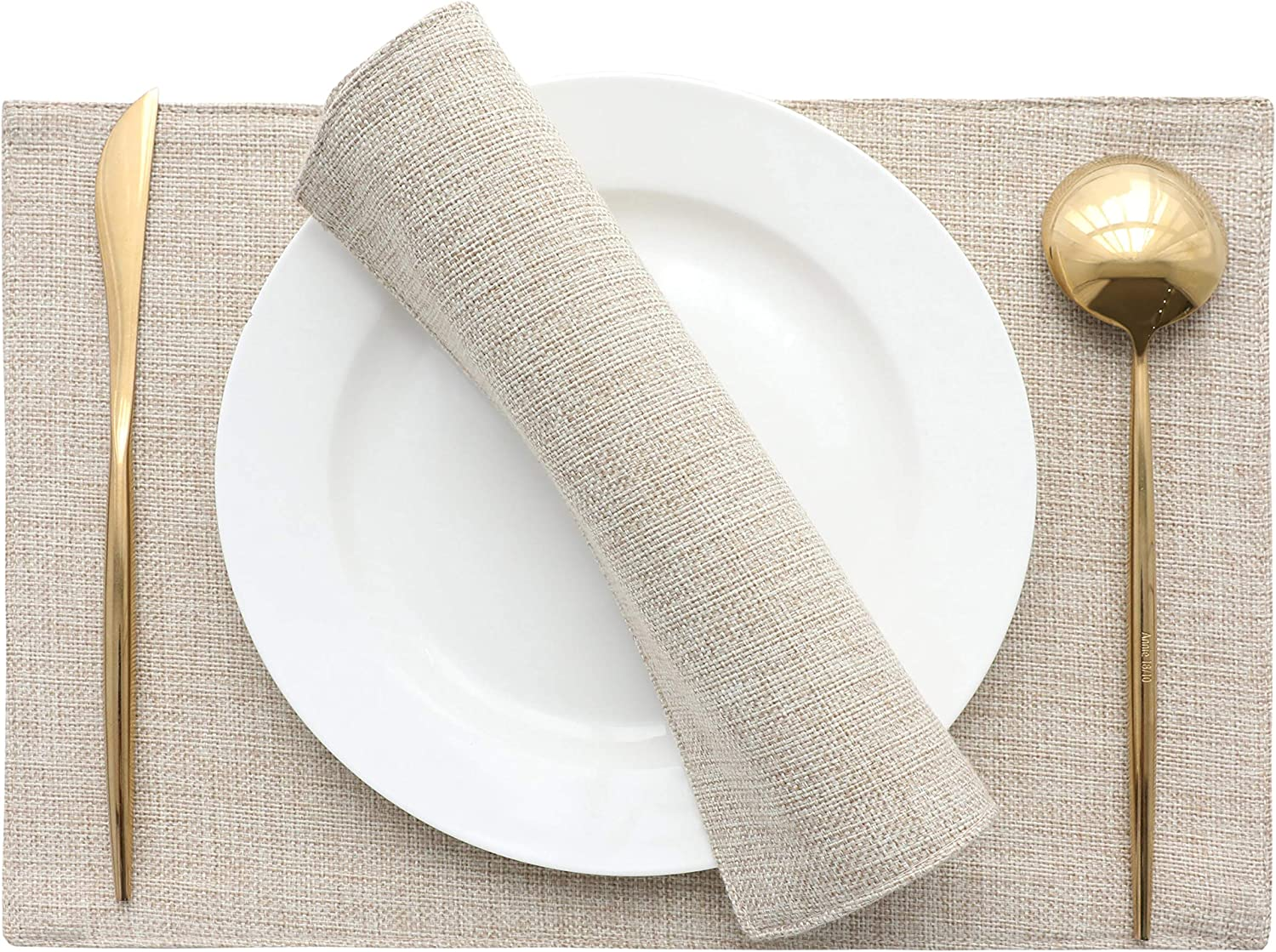 Home Brilliant Set of 4 Placemats Heat Resistant Dining Table Place Mats Kitchen Table Mats, Light Linen: Home & Kitchen