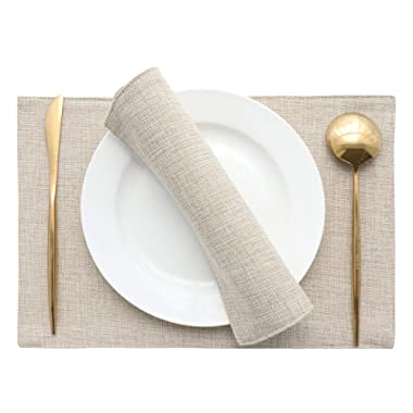 HOME BRILLIANT Set of 4 Placemats Heat Resistant Dining Table Place Mats Kitchen Table Mats, Light Linen