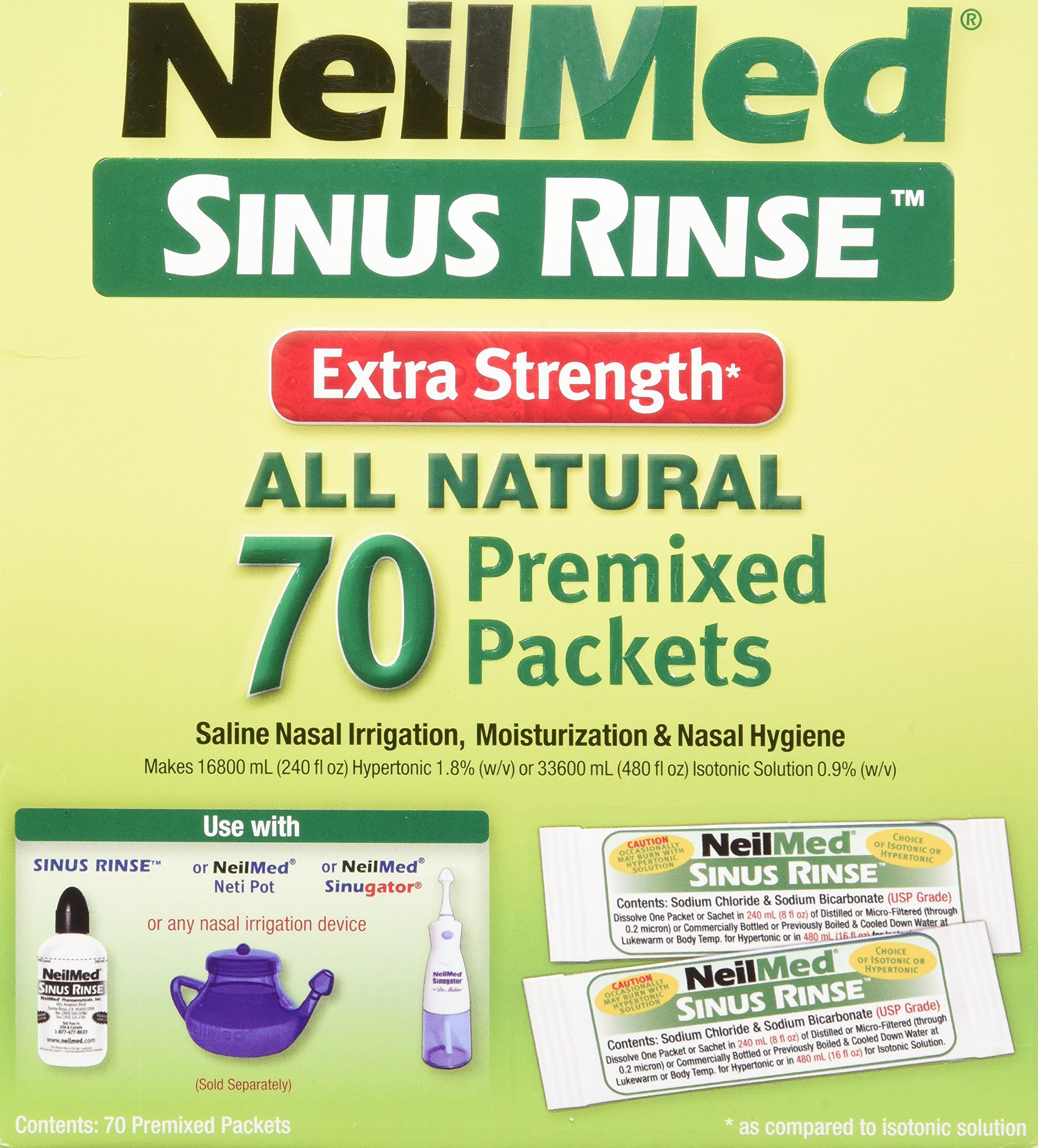 NeilMed's Sinus Rinse Extra Strength Pre-Mixed Hypertonic Packets, 70-Count Boxes (Pack of 2) by NeilMed