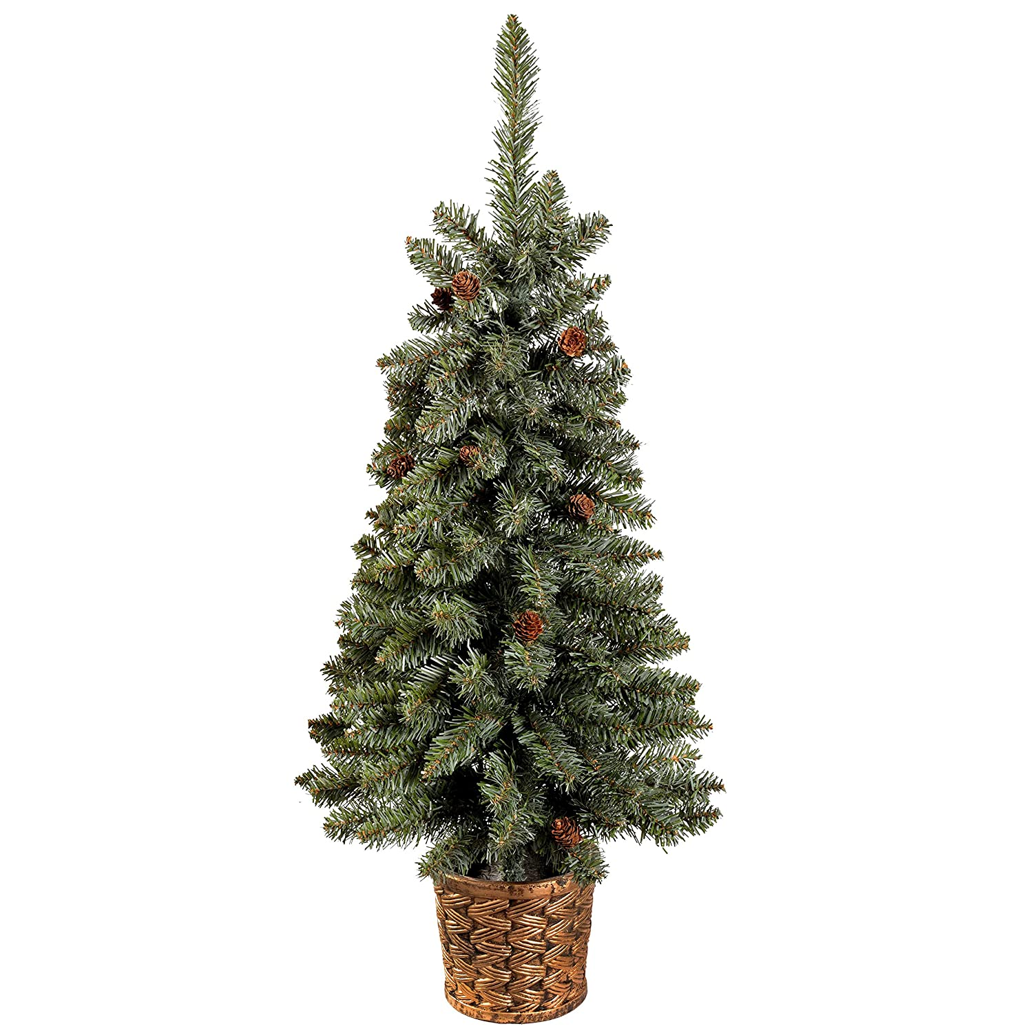 3ft 90cm Craford Blue Pine Christmas Tree With Mini Pine Cones In A Gold Resin Pot