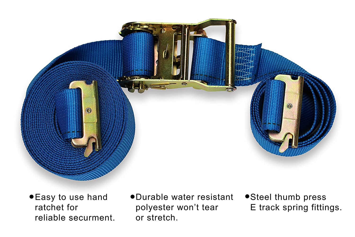 ETrack Spring Fittings Durable Blue Polyester Tie-Down Ratchet Strap Trailer Loads by DC Cargo Mall Tie Down Motorcycles 2 x 20 E Track Ratcheting Strap Heavy Duty Cargo TieDown