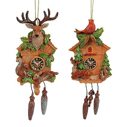 Set de 2 Tradicional reloj de cuco Árbol de Navidad adornos