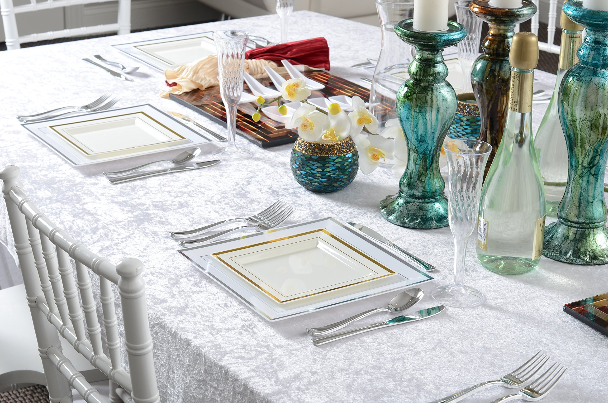 Square Splendor 5507-WH Trim Square Dessert Plate, 7.25-Inch, White and Silver, Pack of 120 by Square Splendor (Image #3)