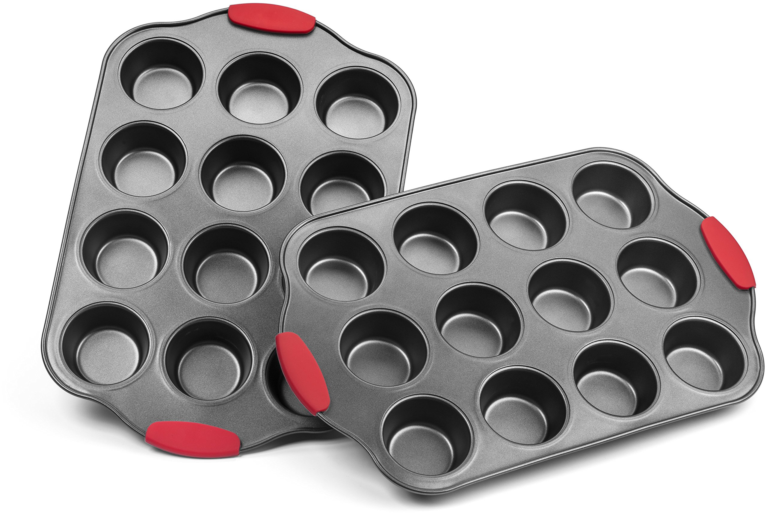 Elite Bakeware Nonstick Muffin Pan with Silicone Handles, Cupcake Maker, 2 Pans