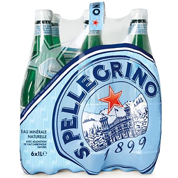 San Pelegrino - Agua mineral natural con gas, 6 botellas
