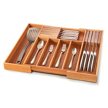 Premium Bamboo Utensil Drawer Organizer - Expandable Cutlery Tray Silverware Holder with 2 Removable Knife Blocks