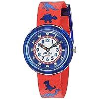 Kids' Quartz Polyester Strap, Red, 14 Casual Watch (Model: ZFBNP117)