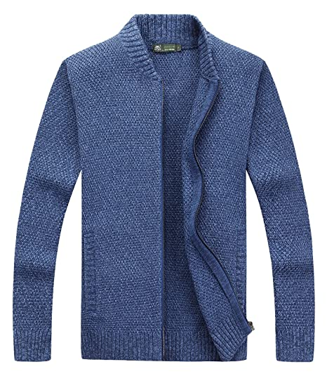 Fanhang Mens Slim Fit Zip Up Cardigan Sweater Knitwear With 2 Side
