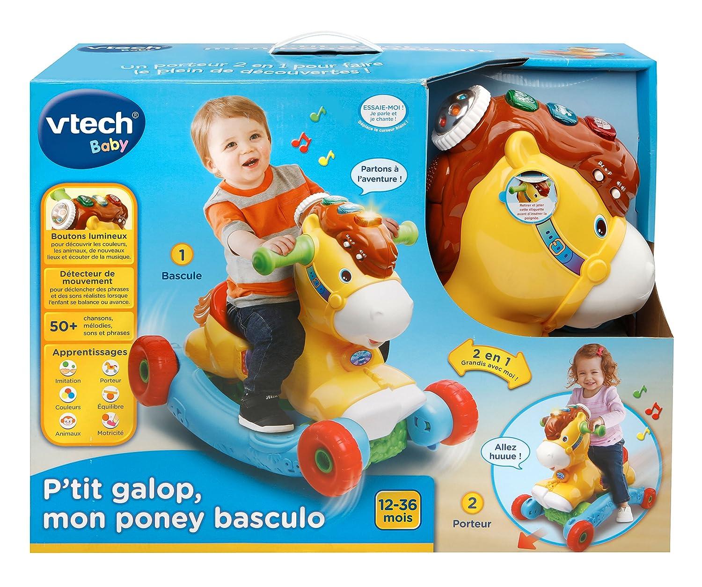 VTech Ptit Galop, Mon poney basculo - Juguetes de Montar (Mon poney basculo, Apertura por Empuje, Animal para Montar, 4 Rueda(s),, Rojo, AAA)