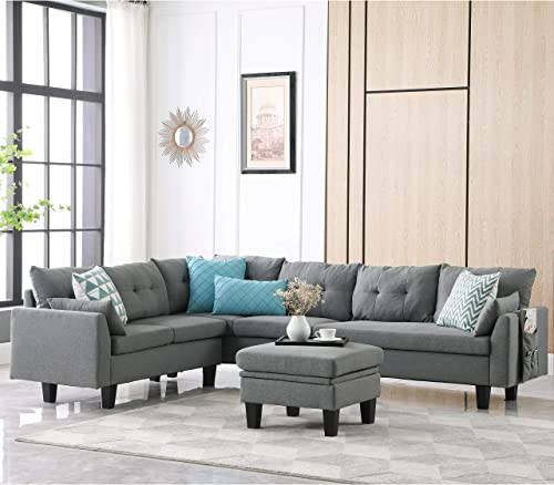Ohuhu Reversible Sectional Sofa Couch, 5-seat L-Shape Sofa Couch with Movable Storage Ottoman Bench Cube Bag for Living Room Apartment Loft,Hardwood Frame, Wooden Legs Breathable Linen Fabric, Grey