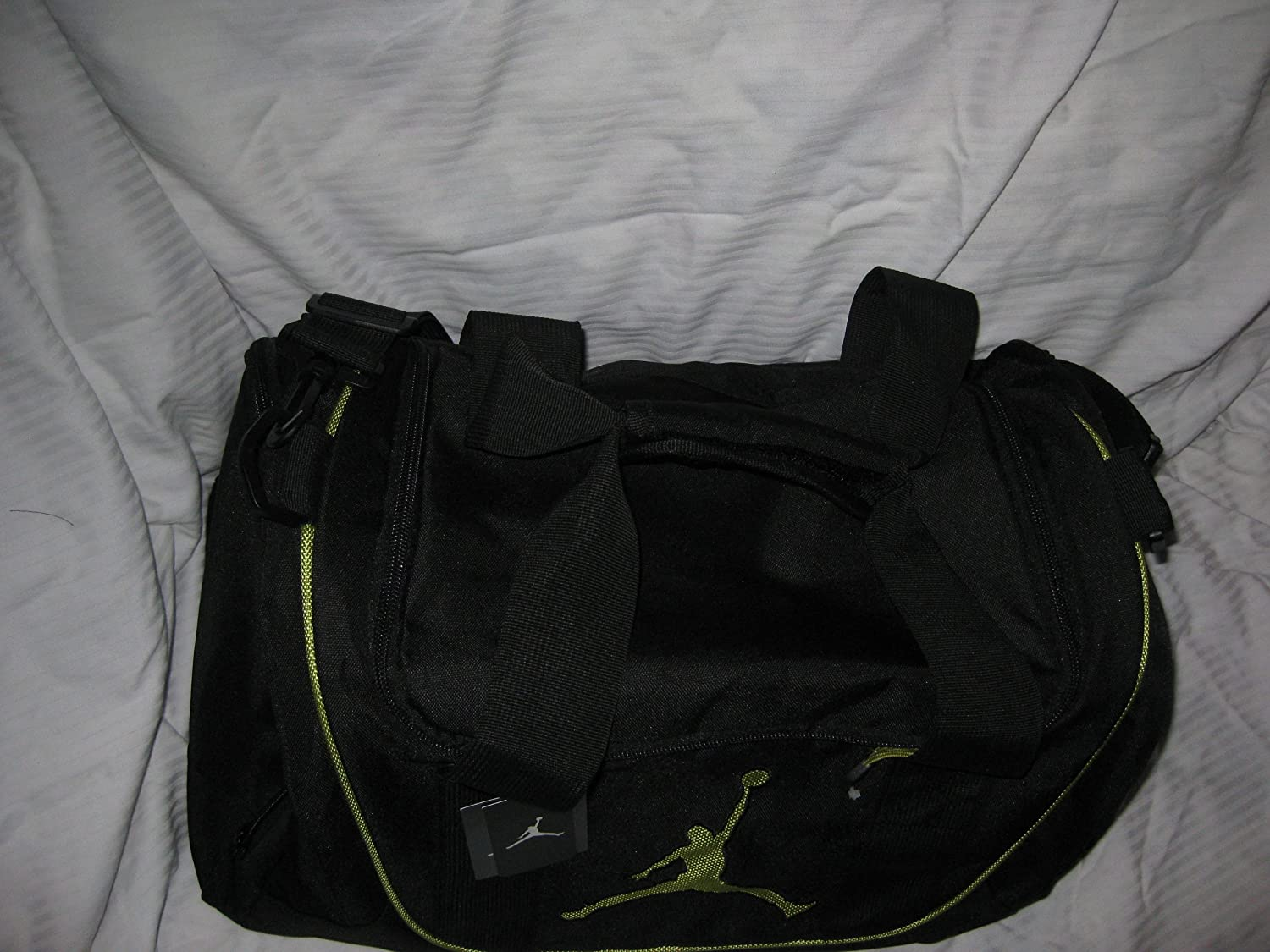 bd3f7ae429 Amazon.com   Nike Air Jordan Duffel Gym Bag Basketball Tote Black Lime  Green Tote Travel Duffle Bag   Outdoor Backpack Reservoirs   Sports    Outdoors