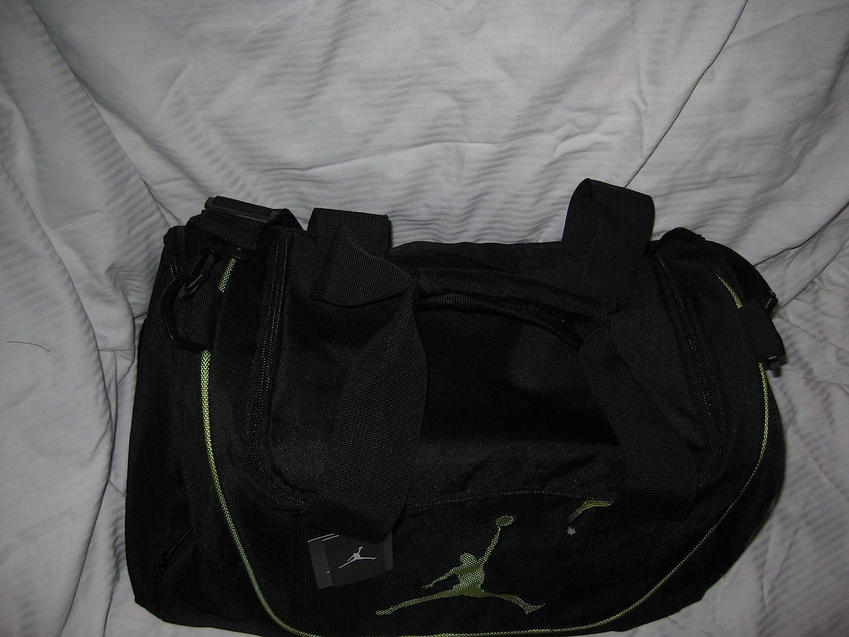 9be929d5bae895 ... Amazon.com Nike Air Jordan Duffel Gym Bag Basketball Tote Black Lime  Green Tote Travel ...