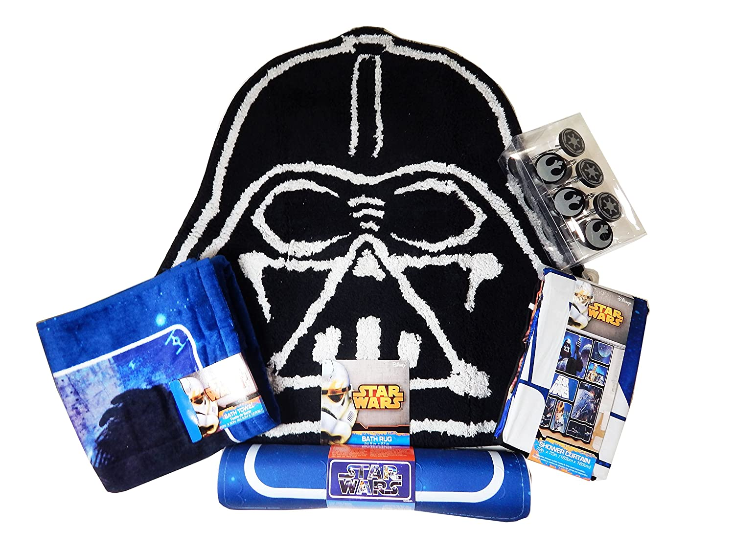 Disney Star Wars Bathroom Set, Shower Curtain, Hooks, Bath Rug, Bath Towel,  and Bath Tub Mat (Navy Star Wars Block)
