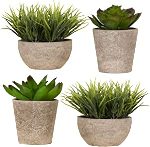 Imperative Décor Decorative Artificial Fake Faux Succulent Potted Plant for Bathroom, Home Office, Dining Room Table, Greenery House Decor (Pack of 4)