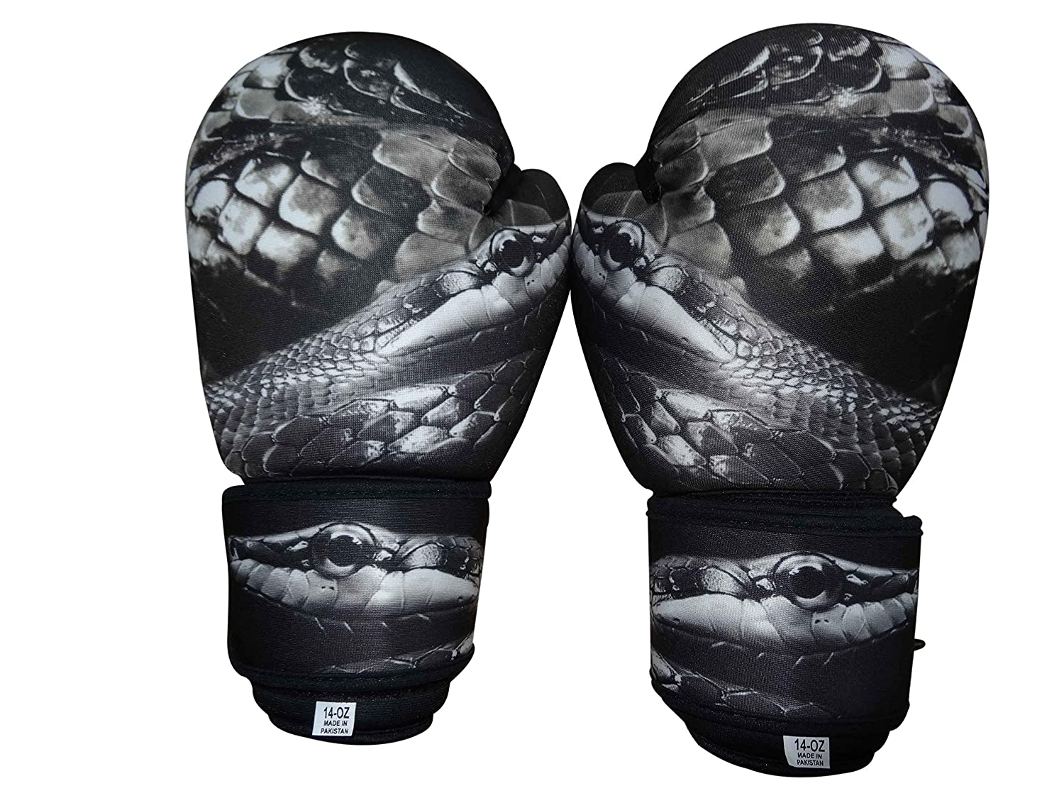 Woldorf USA WashableグレーBoxing Bag Gloves with Imprint Snake 10oz B00CYRM3FC