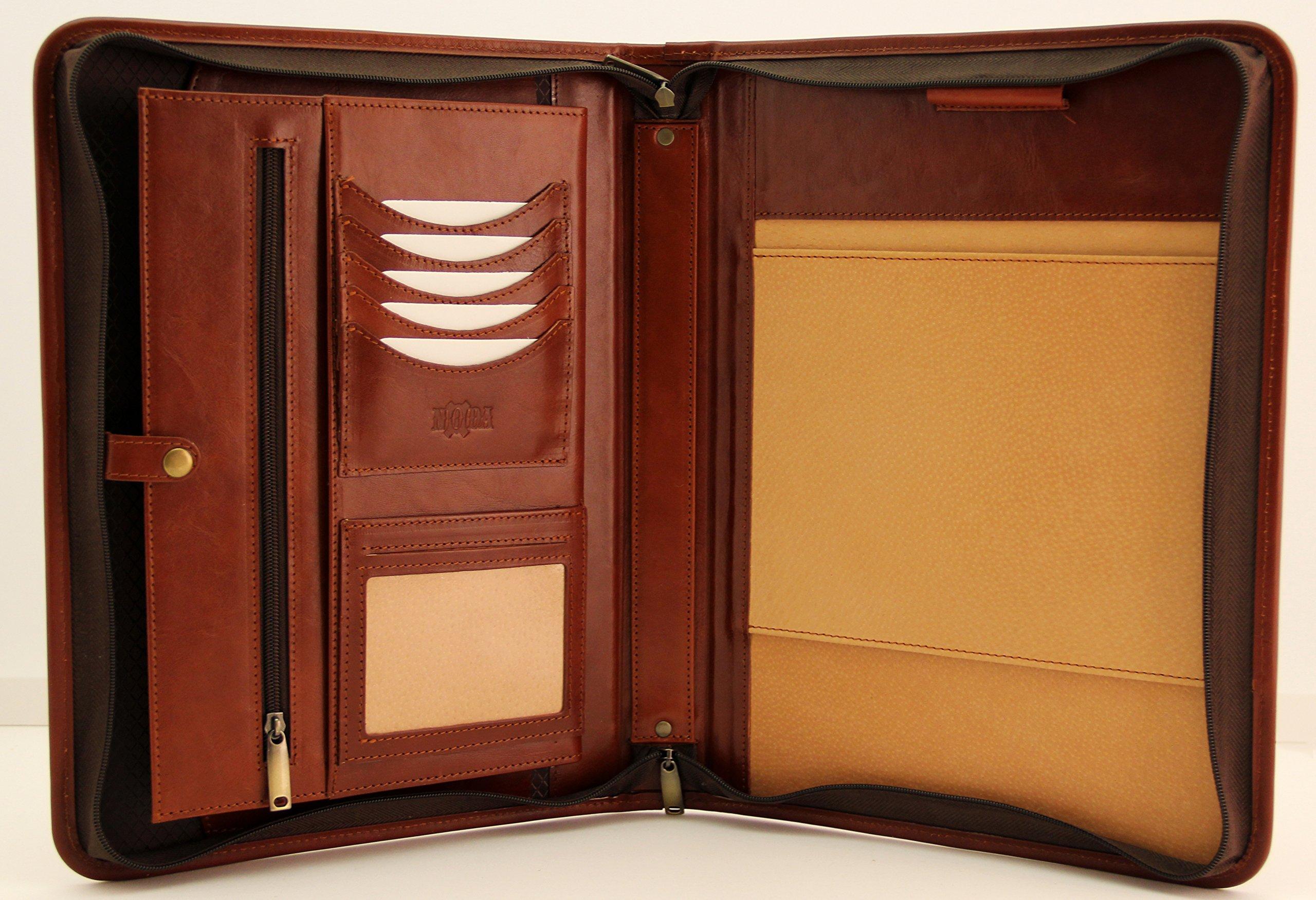 Noda Professional Padfolio - Resume Portfolio / Business Portfolio with Secure Zippered Closure, Expandable Document Organizer & Writing Pad, Italian Genuine leather conference folder A4 (Cogniac)