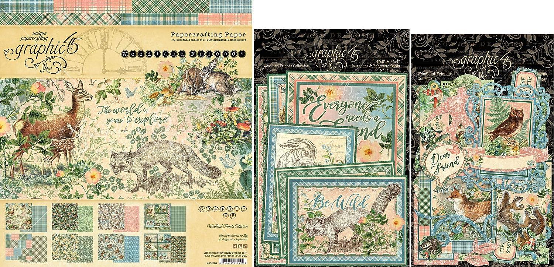 Graphic 45 Woodland Friends - 8x8 Paper Pad, Cardstock Die-cuts, Ephemera with Storage Pocket