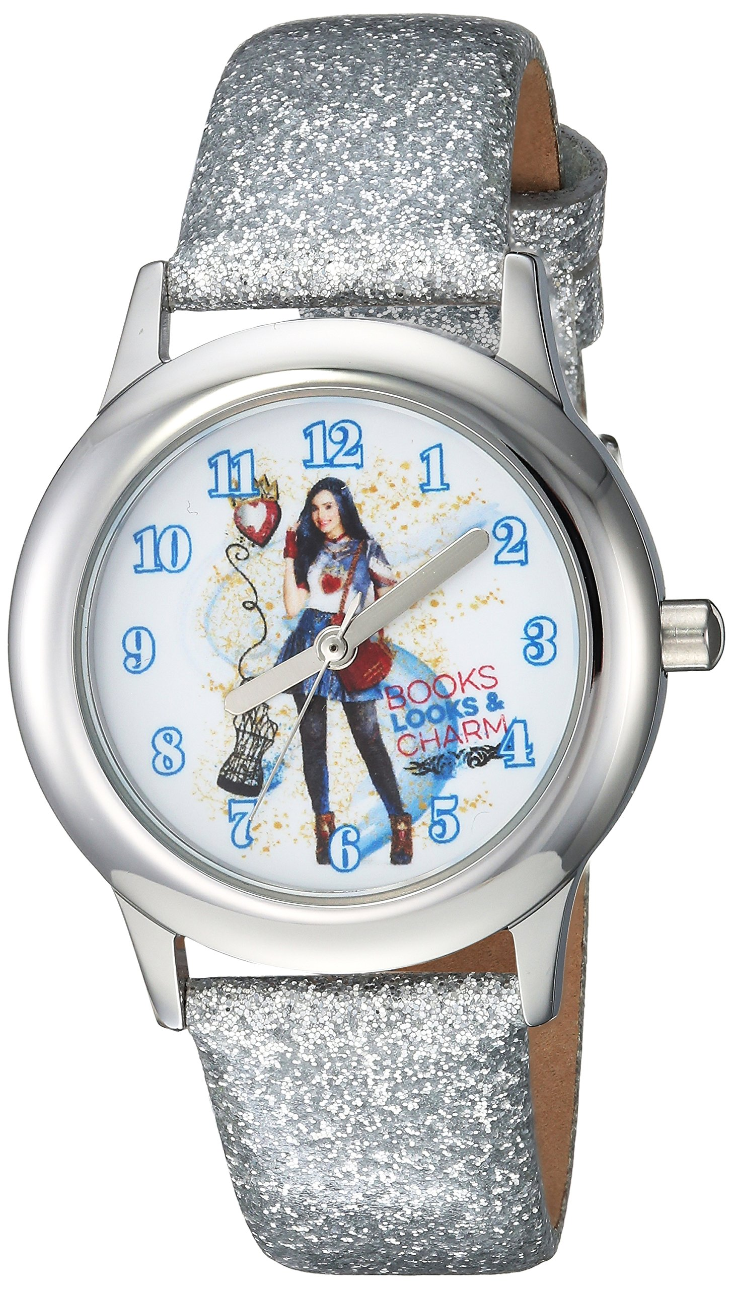 DISNEY Girls Descendants 2 Stainless Steel Analog-Quartz Watch with Leather-Synthetic Strap, Silver, 15 (Model: WDS000249) by Disney