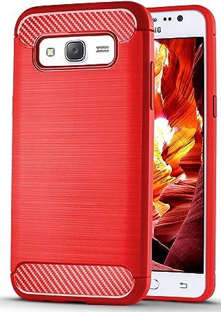 OneFlow® Funda de TPU Compatible con Samsung Galaxy J5 (2015)   Carbono y Aluminio Cepillado, Rouge: Amazon.es: Electrónica