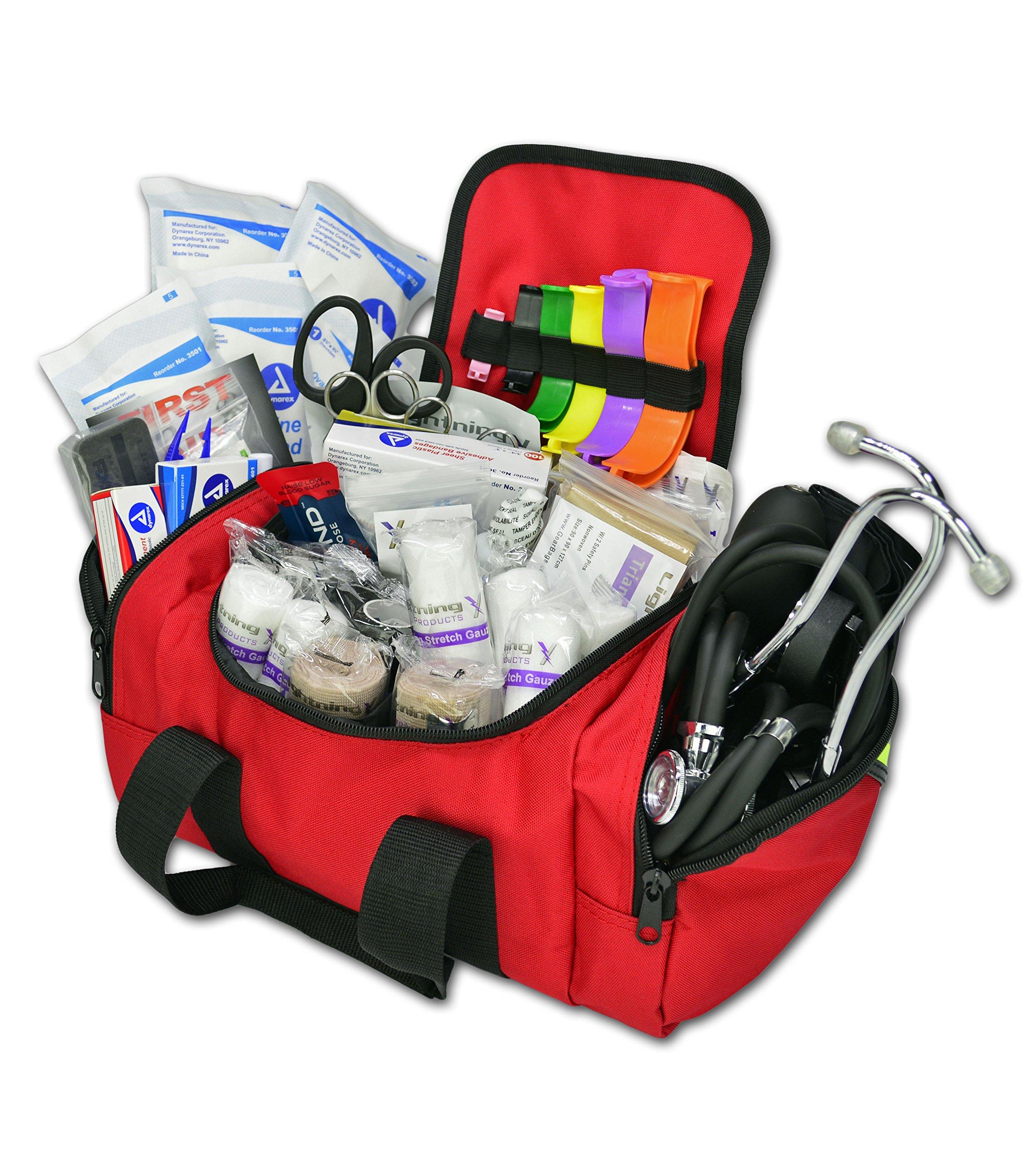 Lightning X Value Compact Medic First Responder EMS/EMT Stocked Trauma Bag w/Standard Fill Kit B - RED