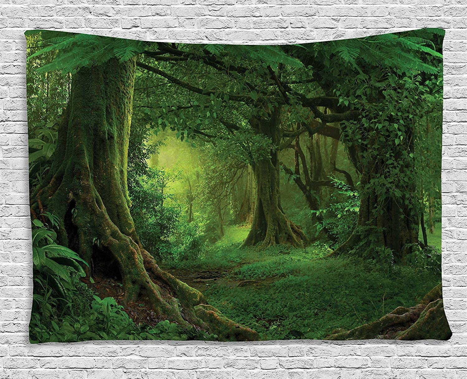 """Ambesonne Forest Tapestry, Enchanted Woodland Foliage in Deep Tropical Jungle at Southeast Landscape Print, Wide Wall Hanging for Bedroom Living Room Dorm, 80"""" X 60"""", Green"""