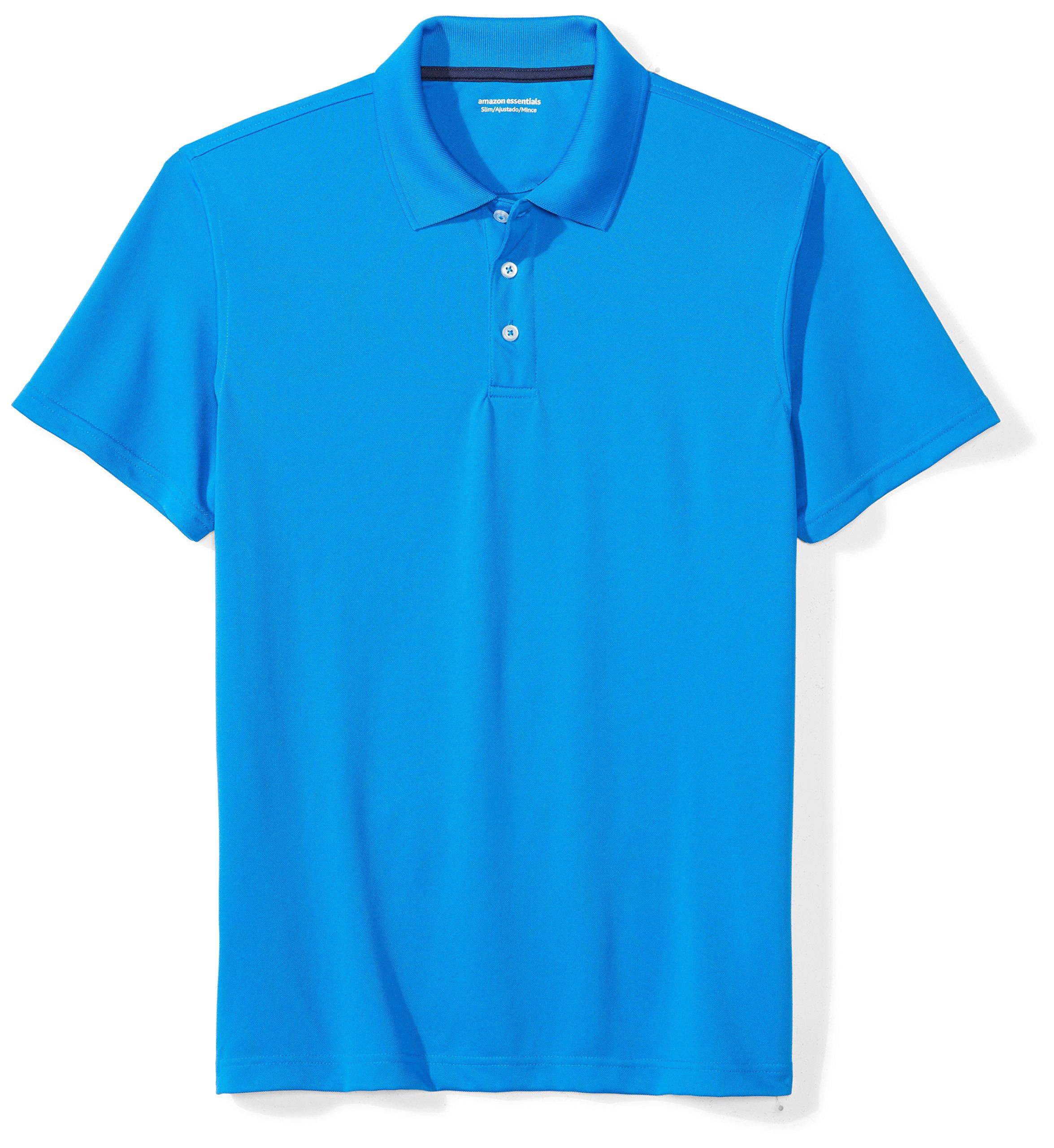 Amazon Essentials Men's Standard Slim-Fit Quick-Dry Golf Polo Shirt, Electric Blue, Large