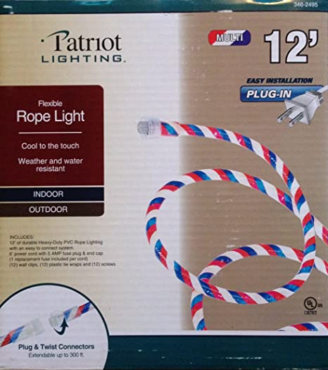 official photos 827f9 f0461 Patriotic Red White and Blue Indoor Outdoor Rope Light - 12 Feet