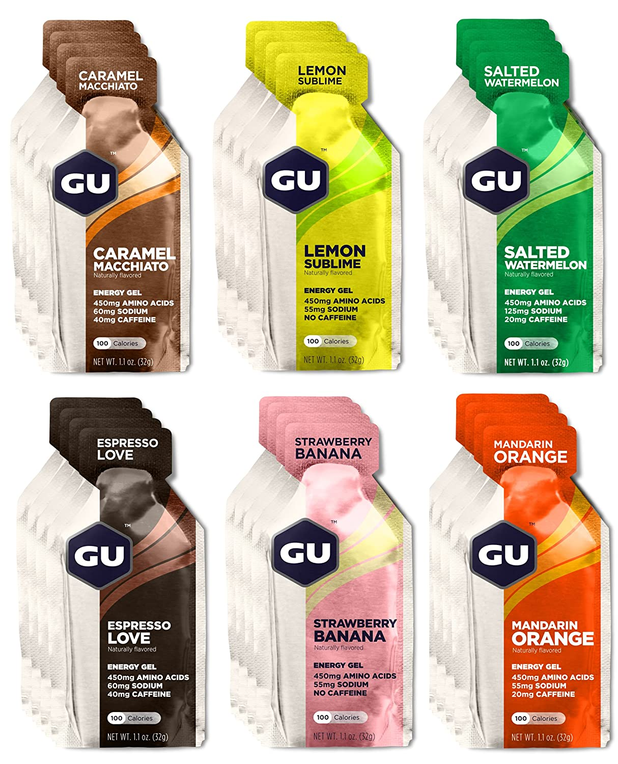 Gu Energy Gels Box Of 24 Six Different Flavours Amazon Co Uk
