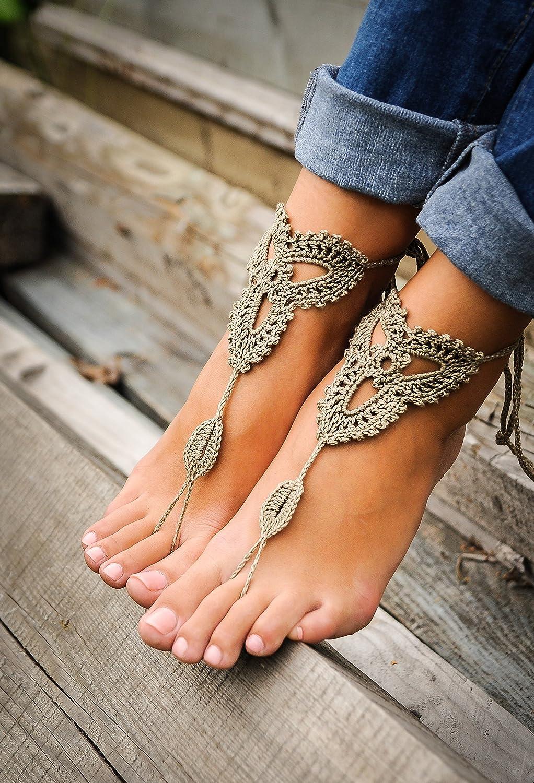 Amazon.com  Crochet Tan Barefoot Sandals 8503d803ce51