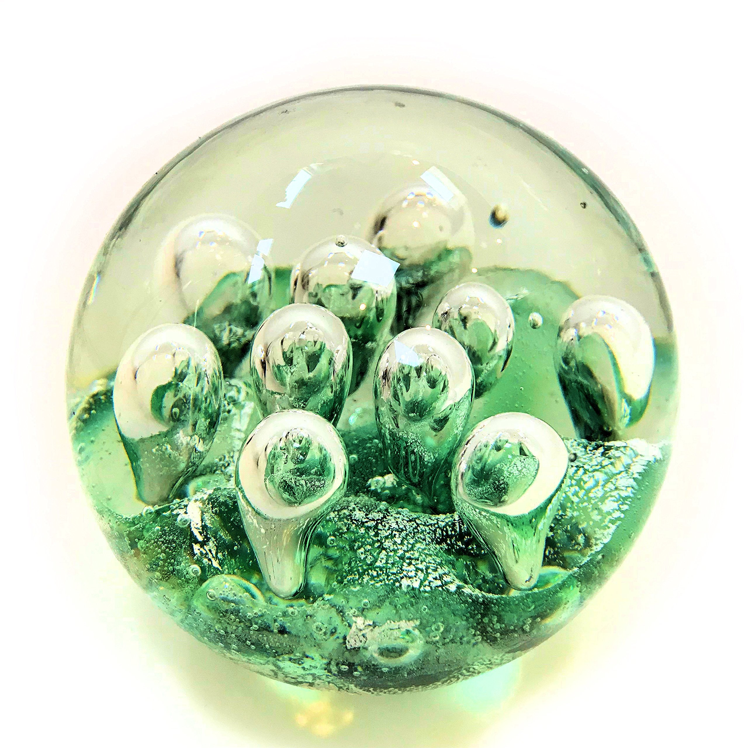 Whole House Worlds The Emerald Green Dynamic Bubbles, Paperweight, Handcrafted Art Glass, 3 1/2 Inches, By