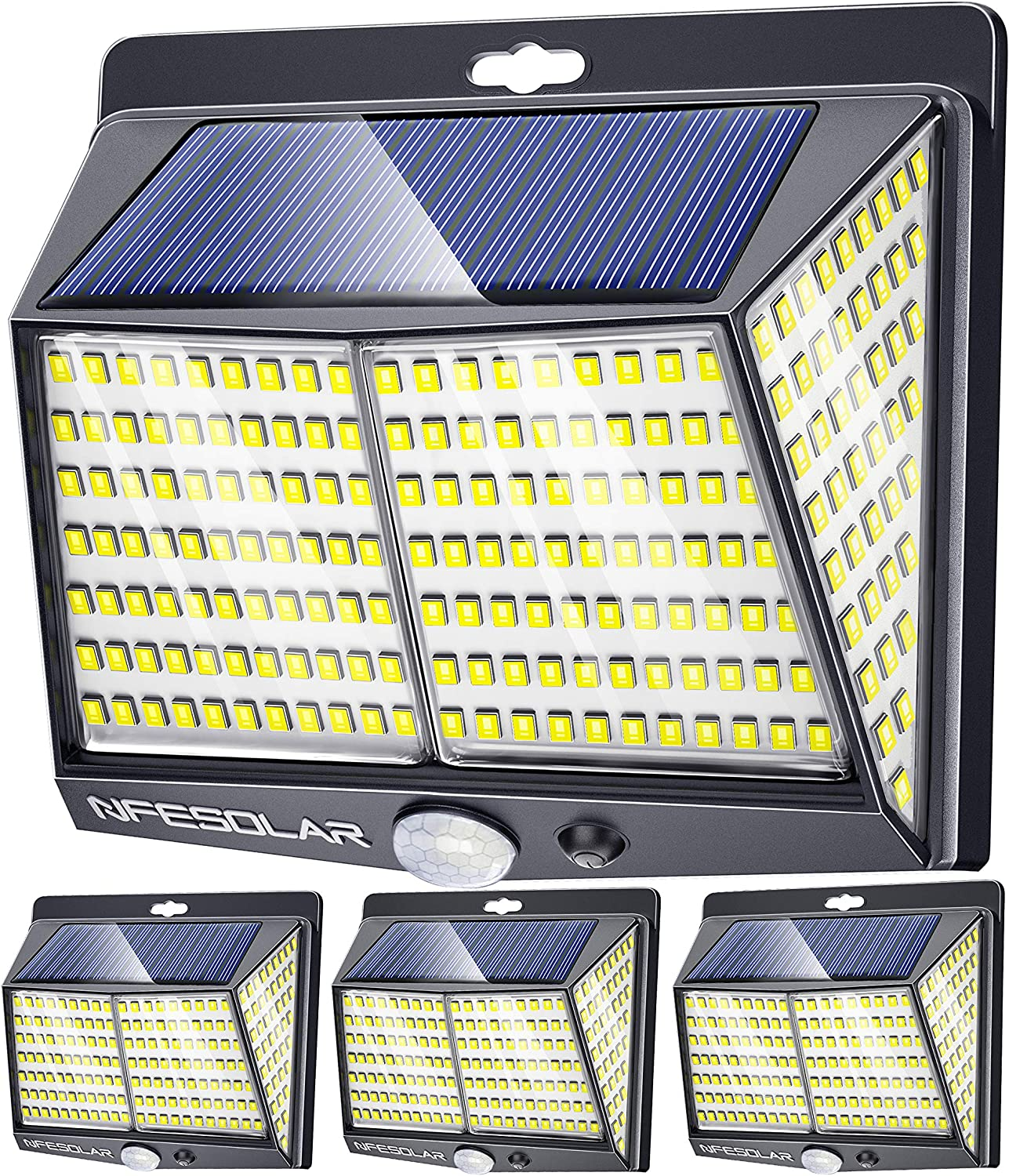 NFESOLAR Solar Motion Sensor Lights, Solar Lights Outdoor 228 LED with Lights Reflector and 3 Lighting Modes Wall Lights, IP65 Waterproof Solar Security Lights for Garden Patio Garage Yard(4 Pack)
